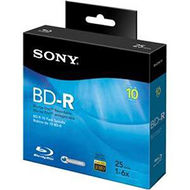 Sony 10BNR25RNS Blu-ray Recordable Media - BD-R - 6x - 25 GB - 10 Pack Spindle