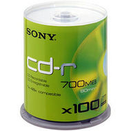 Sony 100CDQ80SP CD Recordable Media - CD-R - 48x - 700 MB - 100 Pack Spindle
