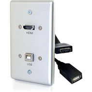 C2G 39874 HDMI® AND USB PASS THROUGH SINGLE GANG WALL PLATE - BRUSHED ALUMINUM