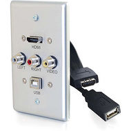 C2G 39876 C2G SINGLE GANG USB, COMPOSITE AND HDMI WALL PLATE ALUMINUM