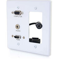 C2G 39877 C2G DECORATIVE DUAL GANG VGA, 3.5MM AUDIO AND HDMI WALL PLATE WHITE