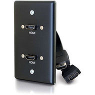 C2G 39879 C2G SINGLE GANG WALL PLATE WITH DUAL HDMI PIGTAILS BLACK