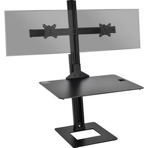 SIIG CE-MT2H12-S1 HEIGHT ADJUSTABLE DUAL MONITOR DESK STAND WITH LAPTOP TRAY