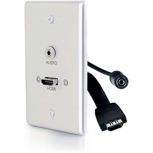 C2G 39871 HDMI® AND 3.5MM AUDIO PASS THROUGH SINGLE GANG WALL PLATE - BRUSHED ALUMINUM